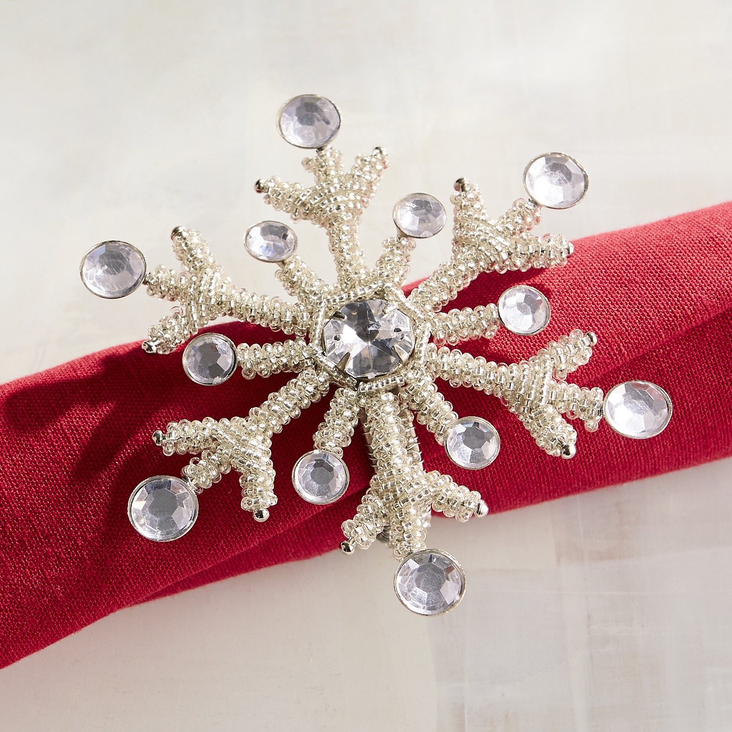 Silver Beaded Snowflake Napkin Ring