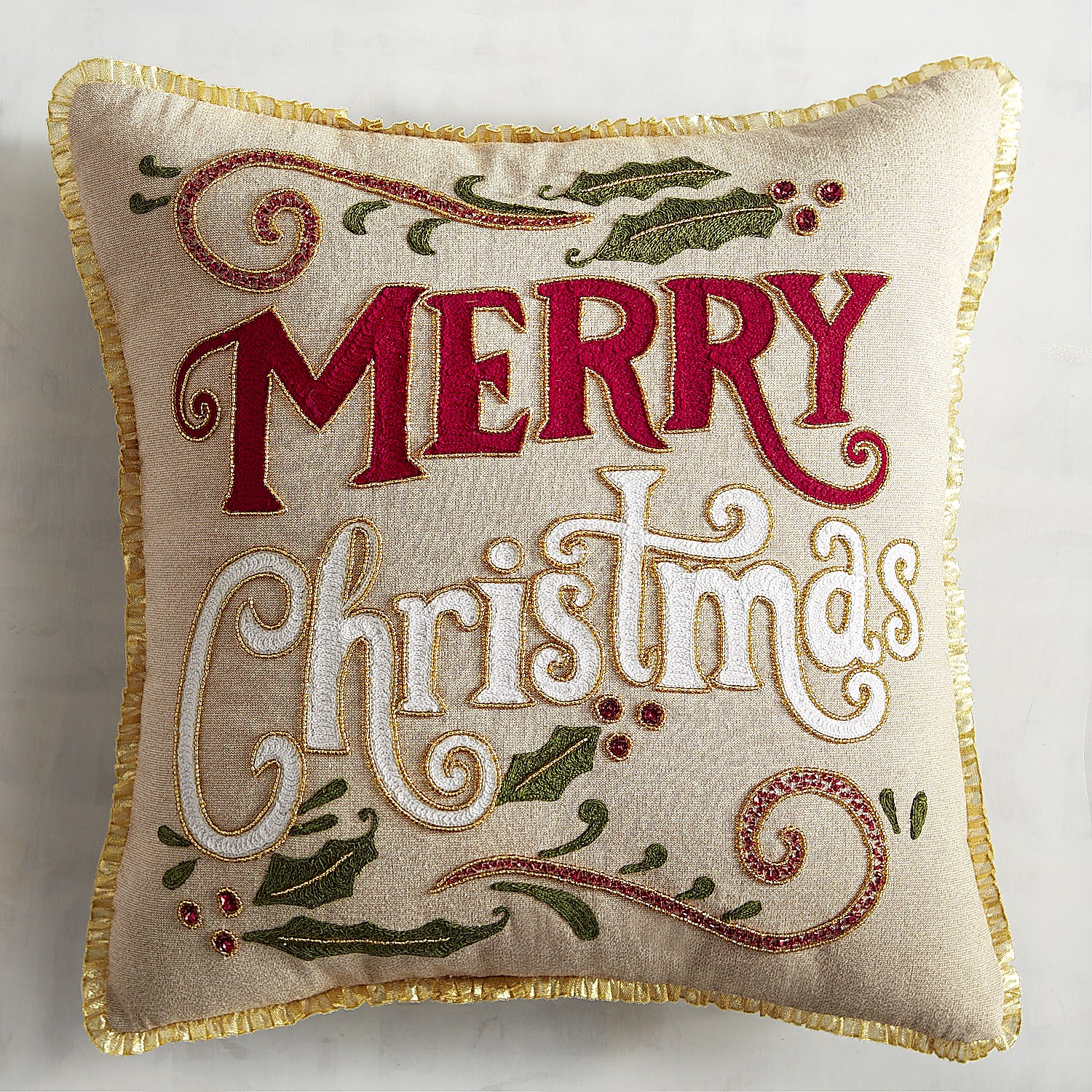 Red & Gold Merry Christmas Pillow