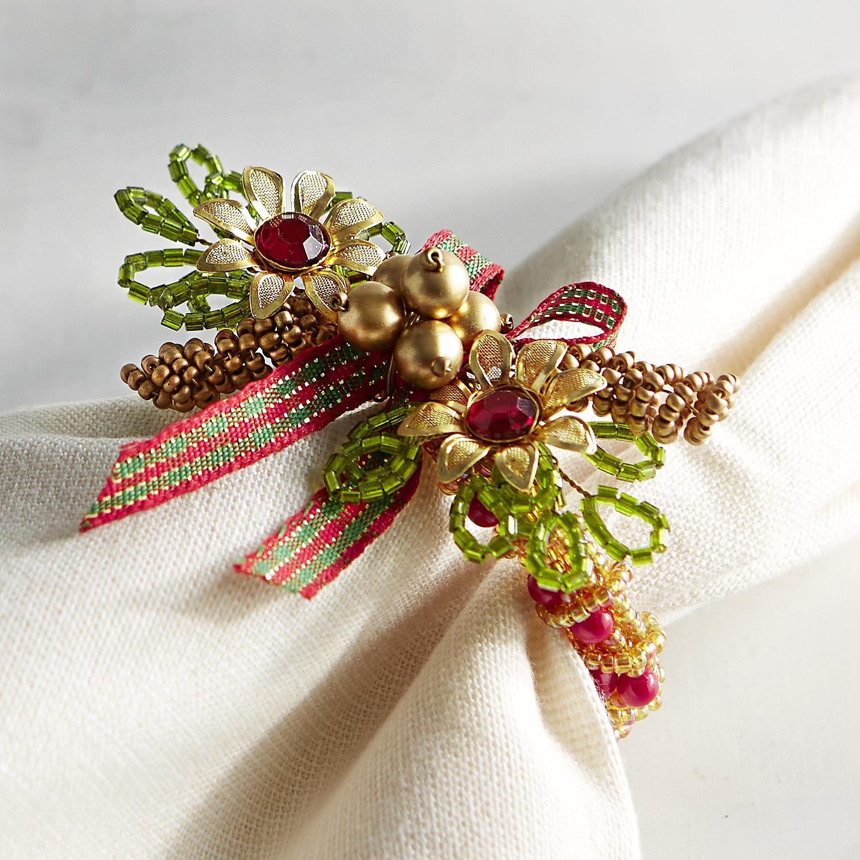 Beaded Christmas Wreath Napkin Ring