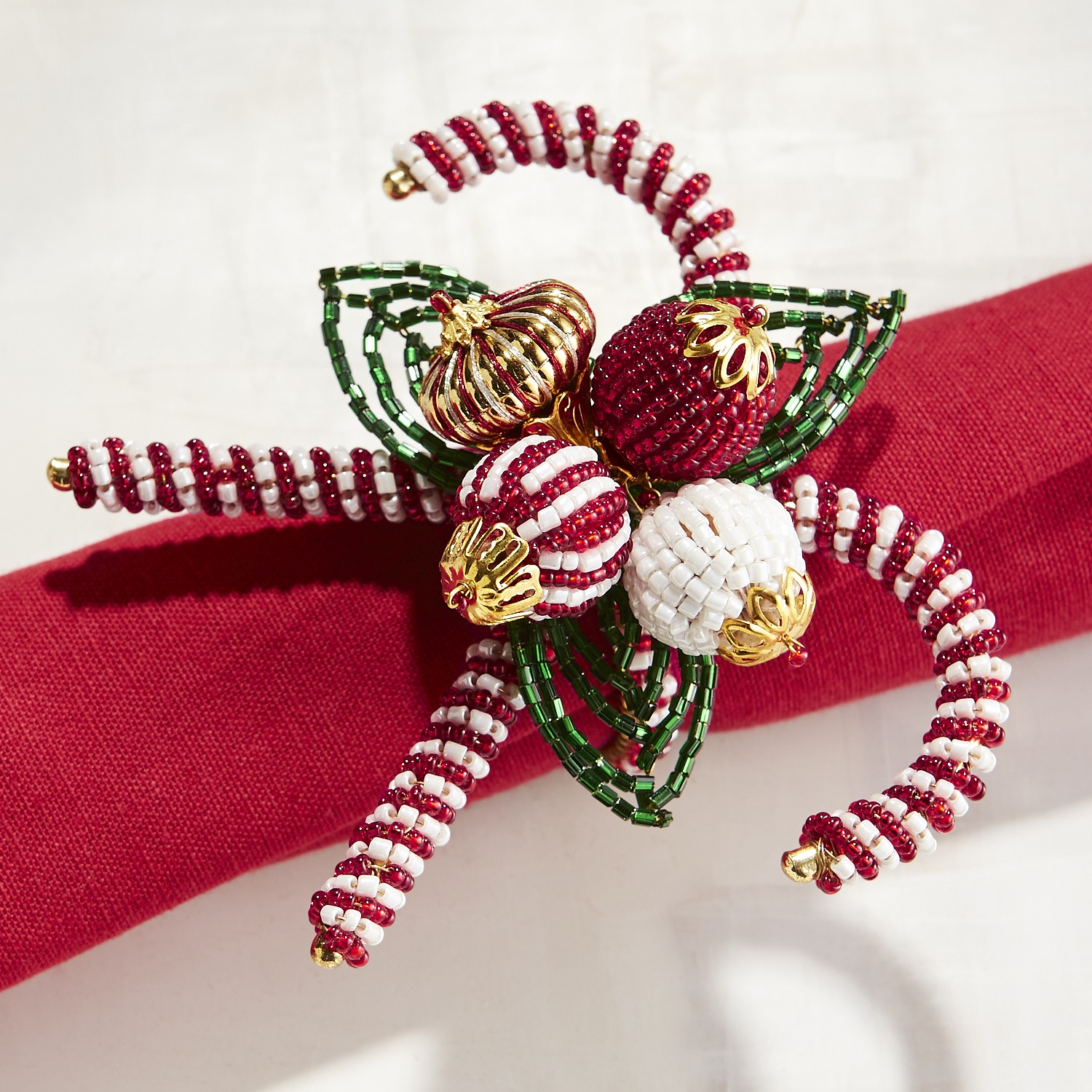 Beaded Candy Canes Napkin Ring