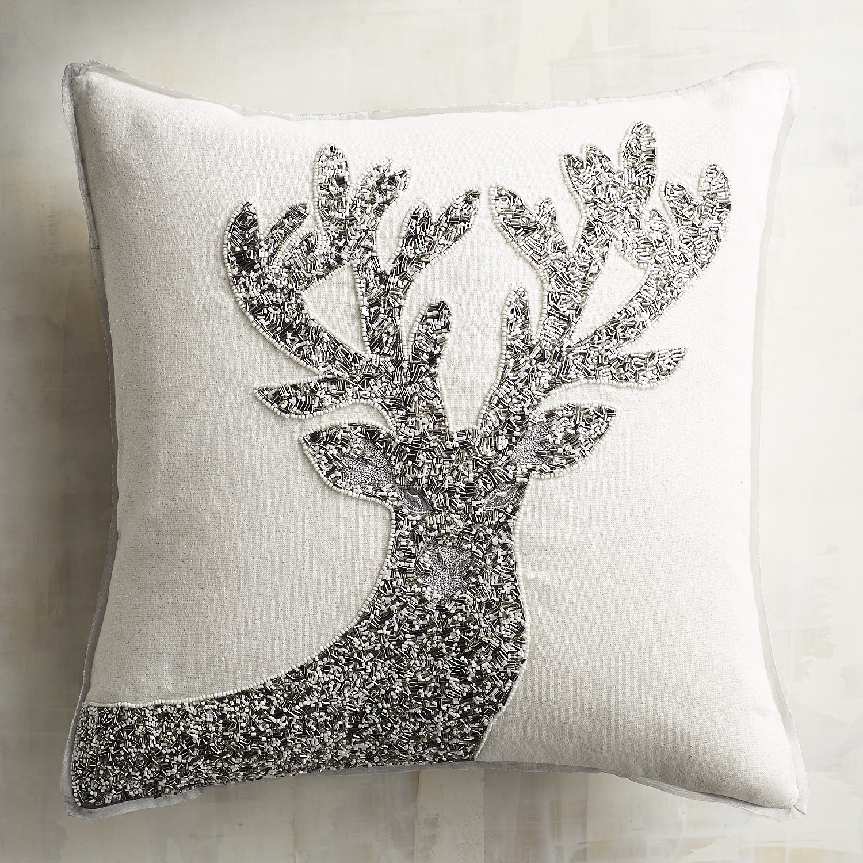 Silver & White Beaded Reindeer Pillow