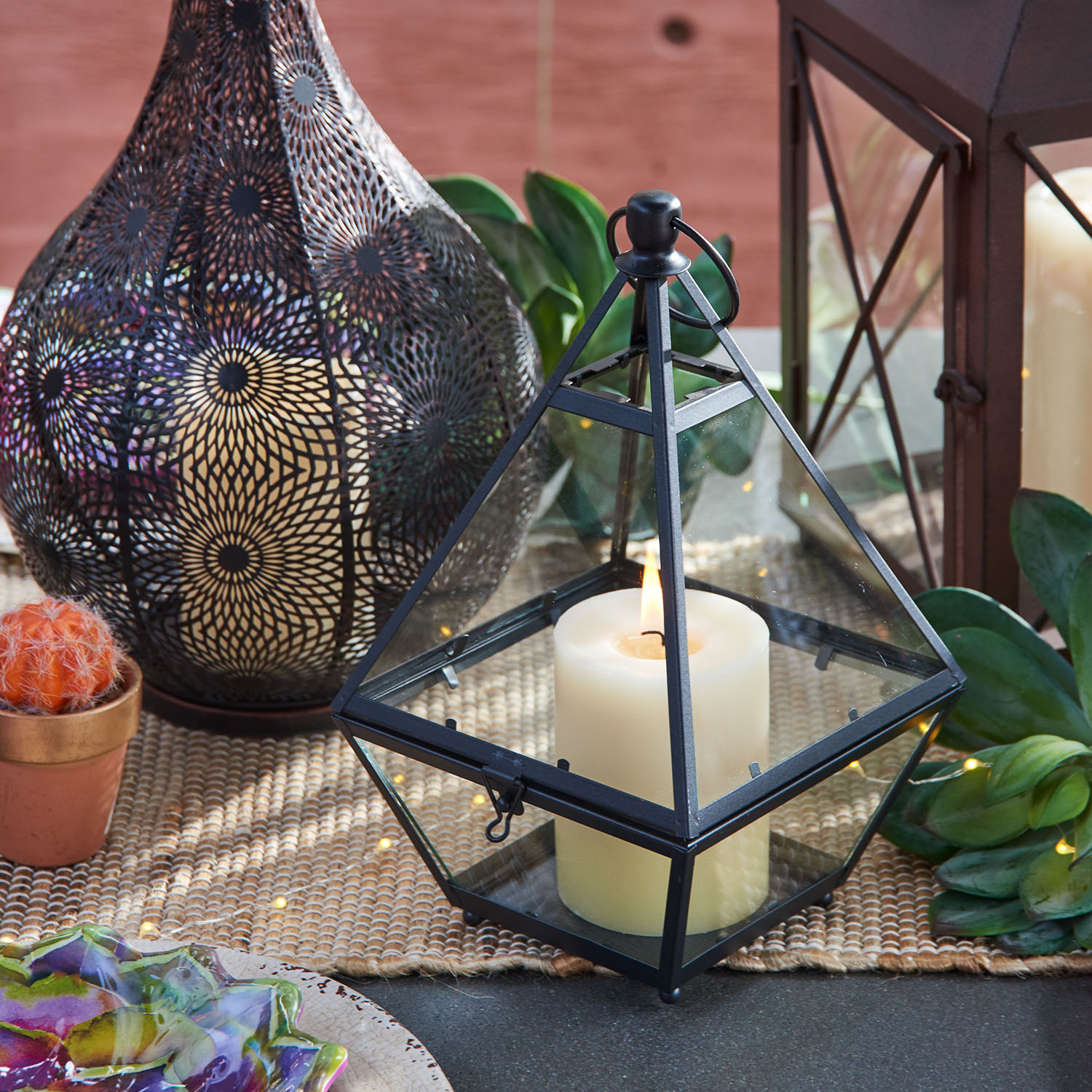 Eldridge Small Black Triangle Metal Lantern