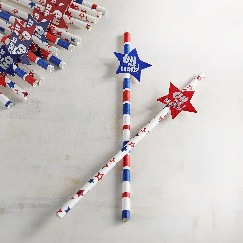 July Fourth Oh My Stars Paper Straws