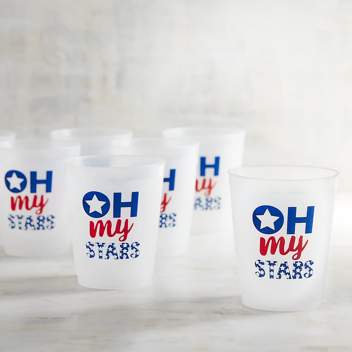 July Fourth Oh My Stars Plastic Cups