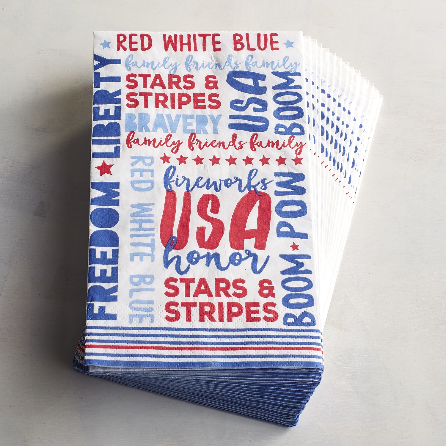July Fourth USA Words Paper Buffet Napkins
