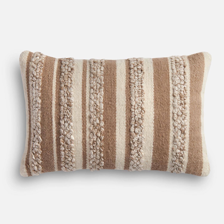 Textured Beige & Ivory Lumbar Pillow