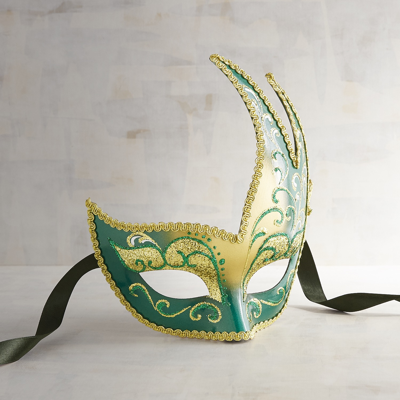 Green & Gold Onda Italian Masquerade Mask