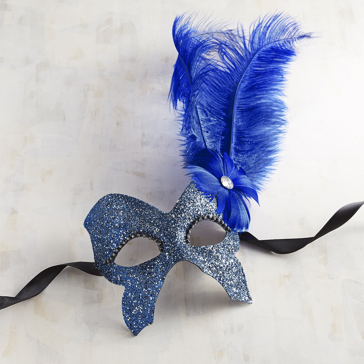 Blue Butterfly & Feathers Italian Masquerade Mask