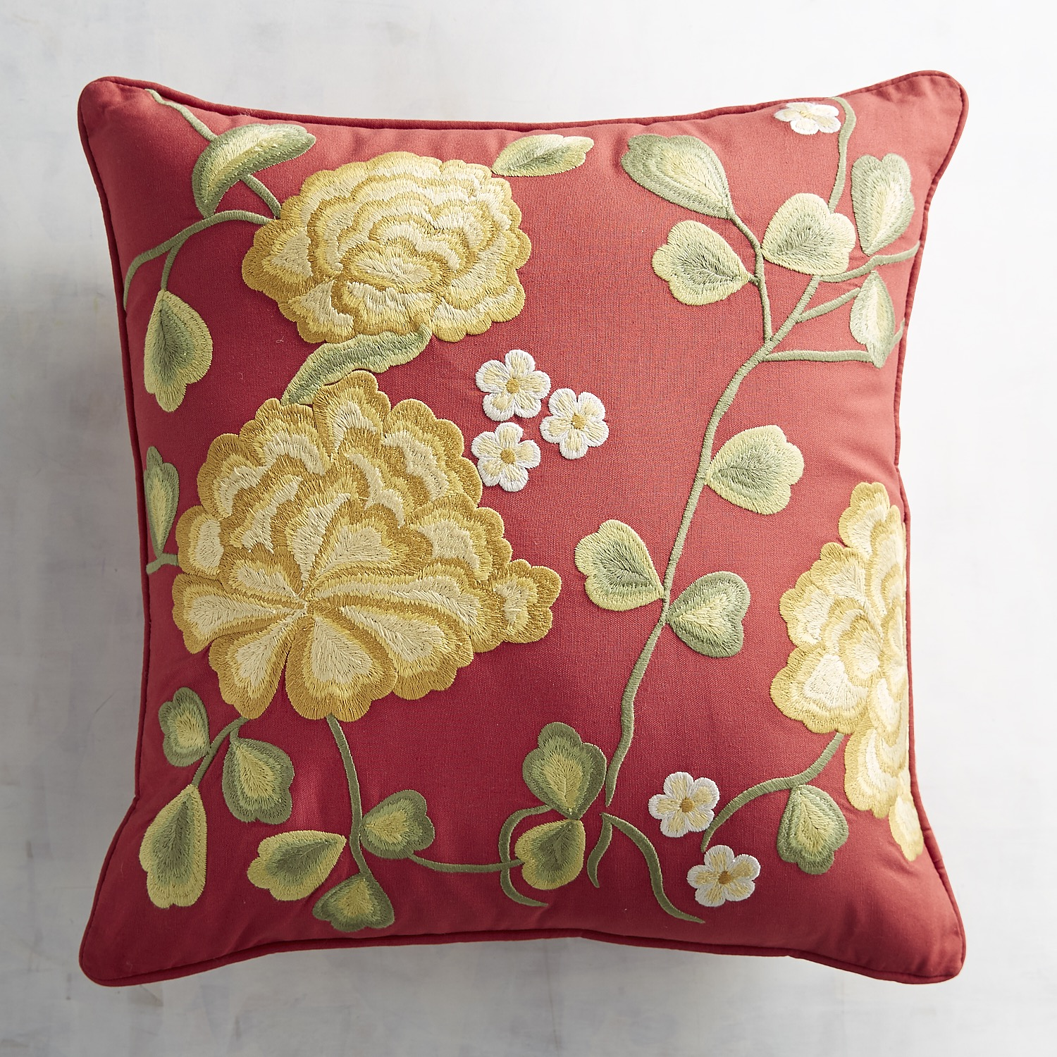 Embroidered Marigolds Pillow