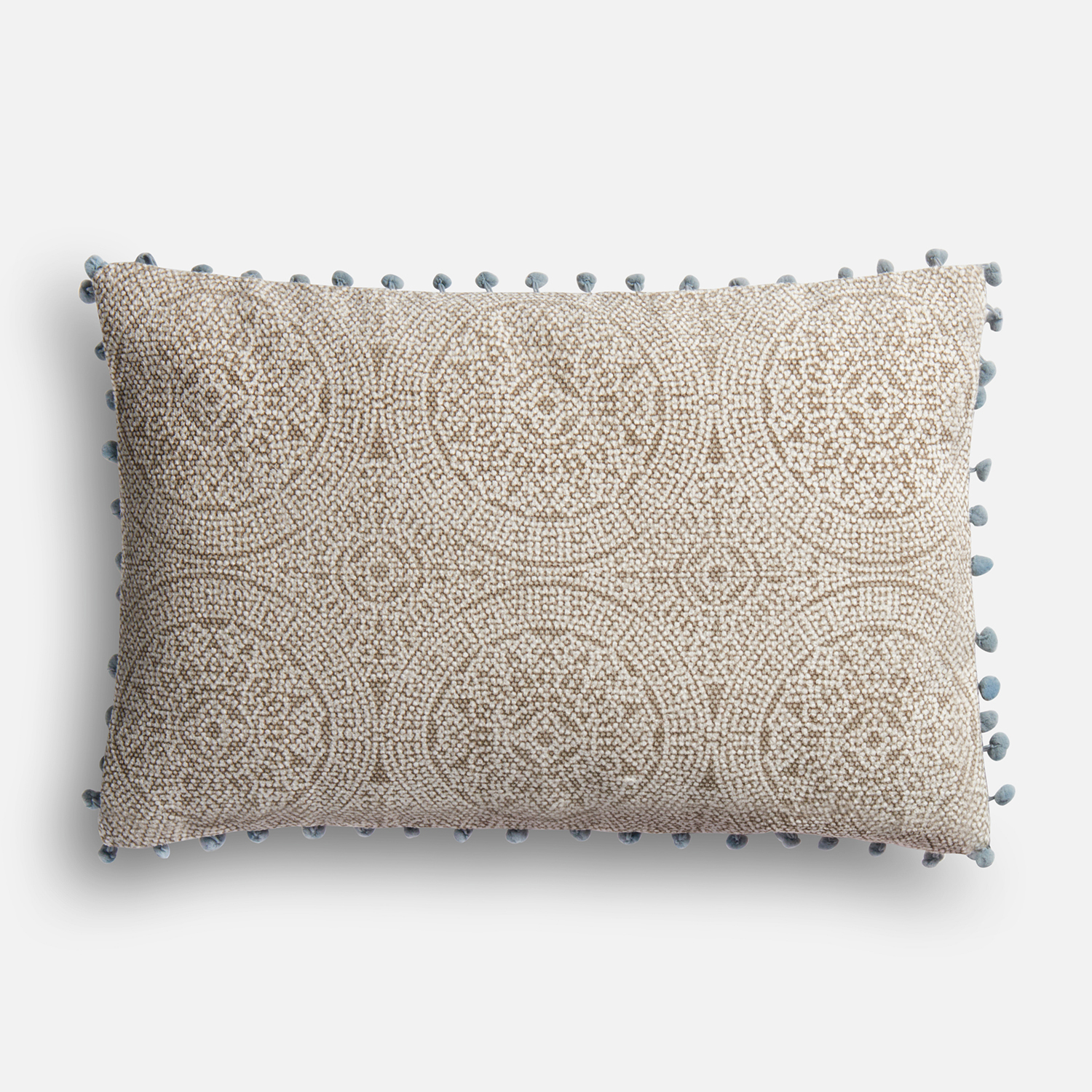 Gray & Slate Lumbar Pillow with Pompoms
