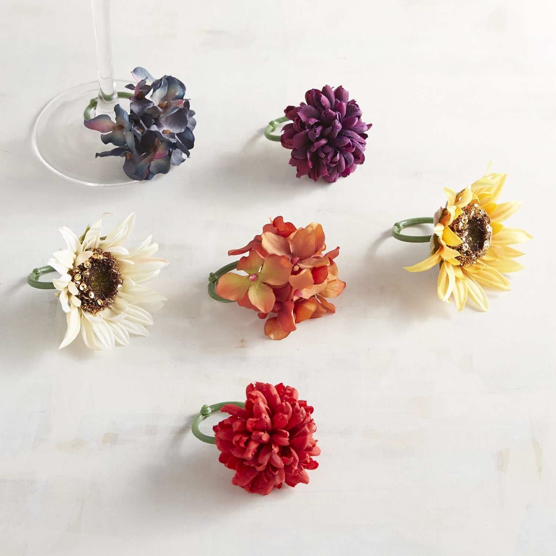 Sunset Bouquet Floral Wine Charm Set