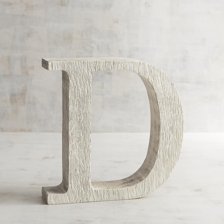 Whitewashed Wooden Monogram Letter D
