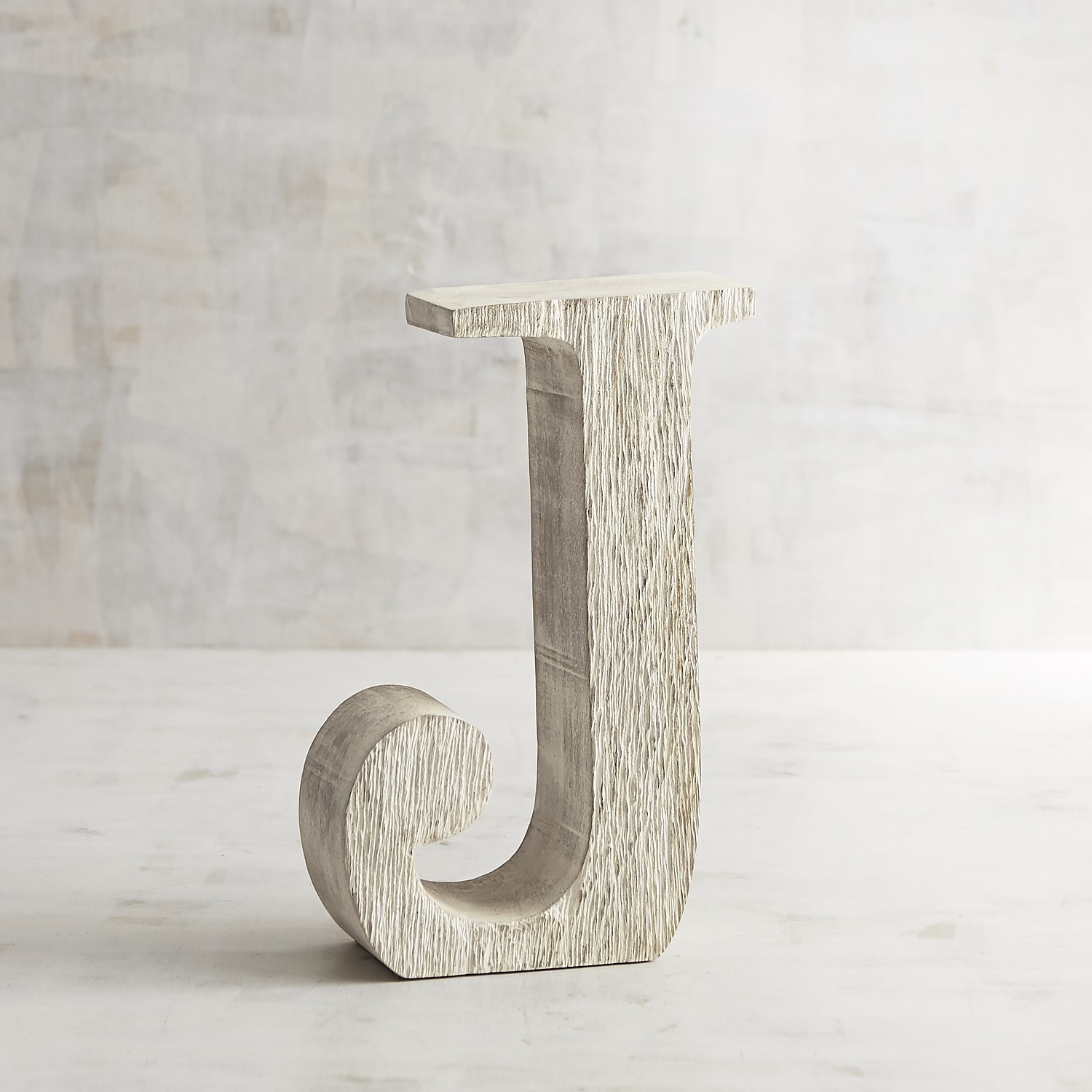 Whitewashed Wooden Monogram Letter J