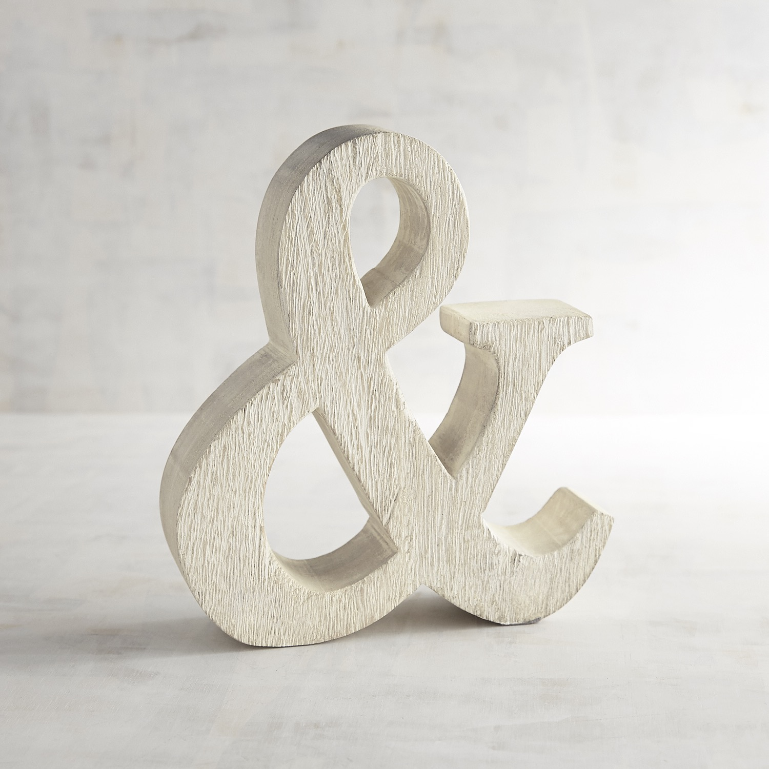 Whitewashed Wooden Monogram Ampersand