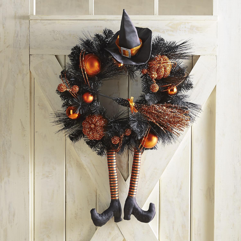 "Orange Witch Hat & Ornament 24"" Wreath"