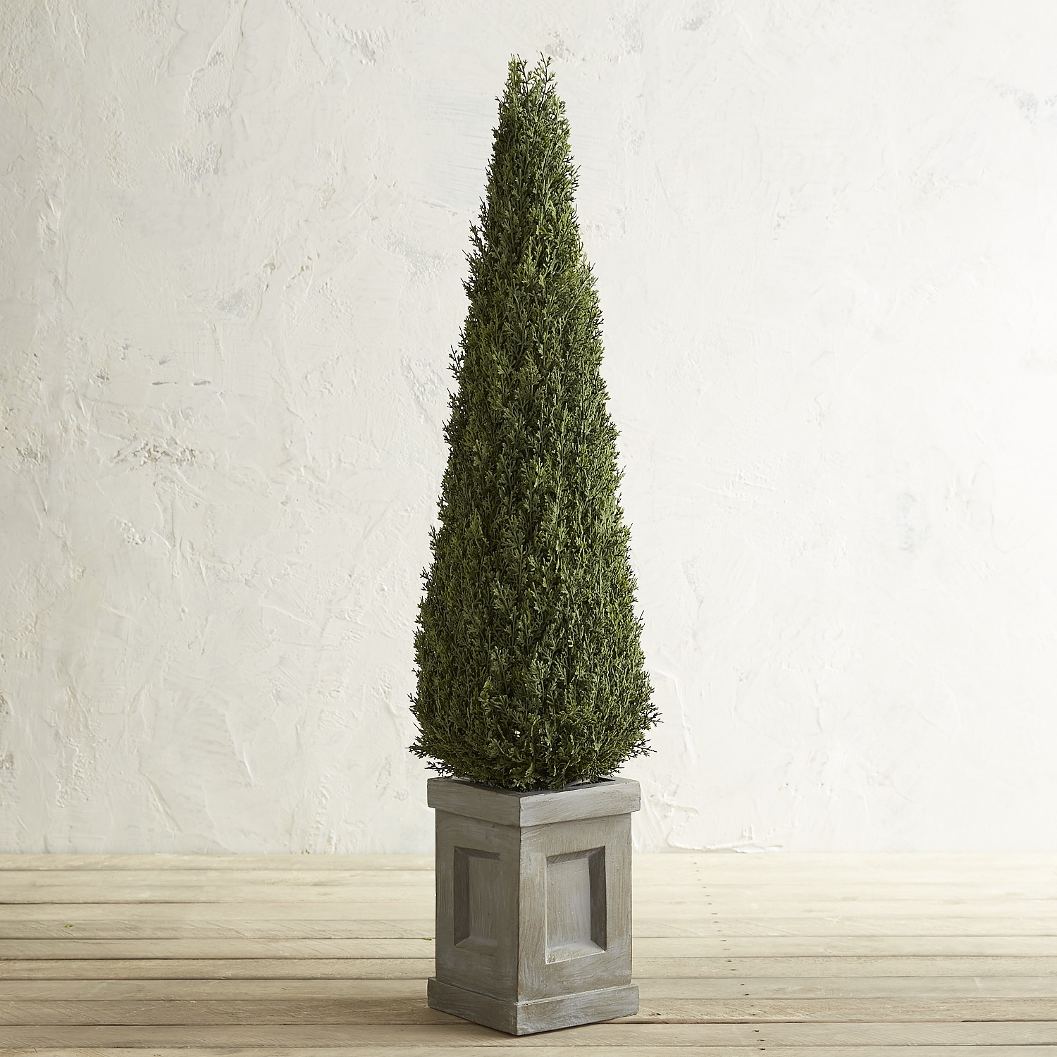 "Outdoor Faux Cedar 47"" Cone Topiary"