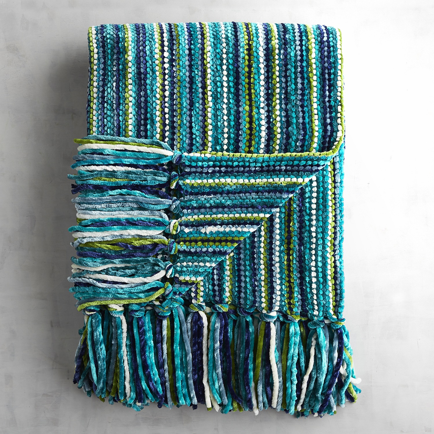 Teal Streamers Chenille Throw