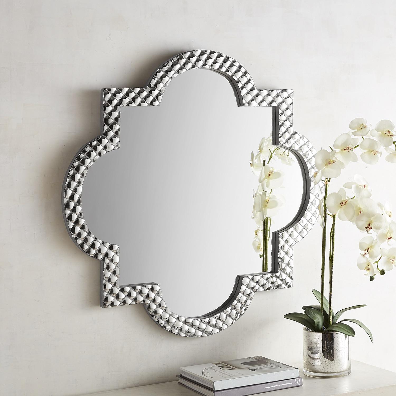 Akira Silver Mosaic Quatrefoil 36x36 Mirror