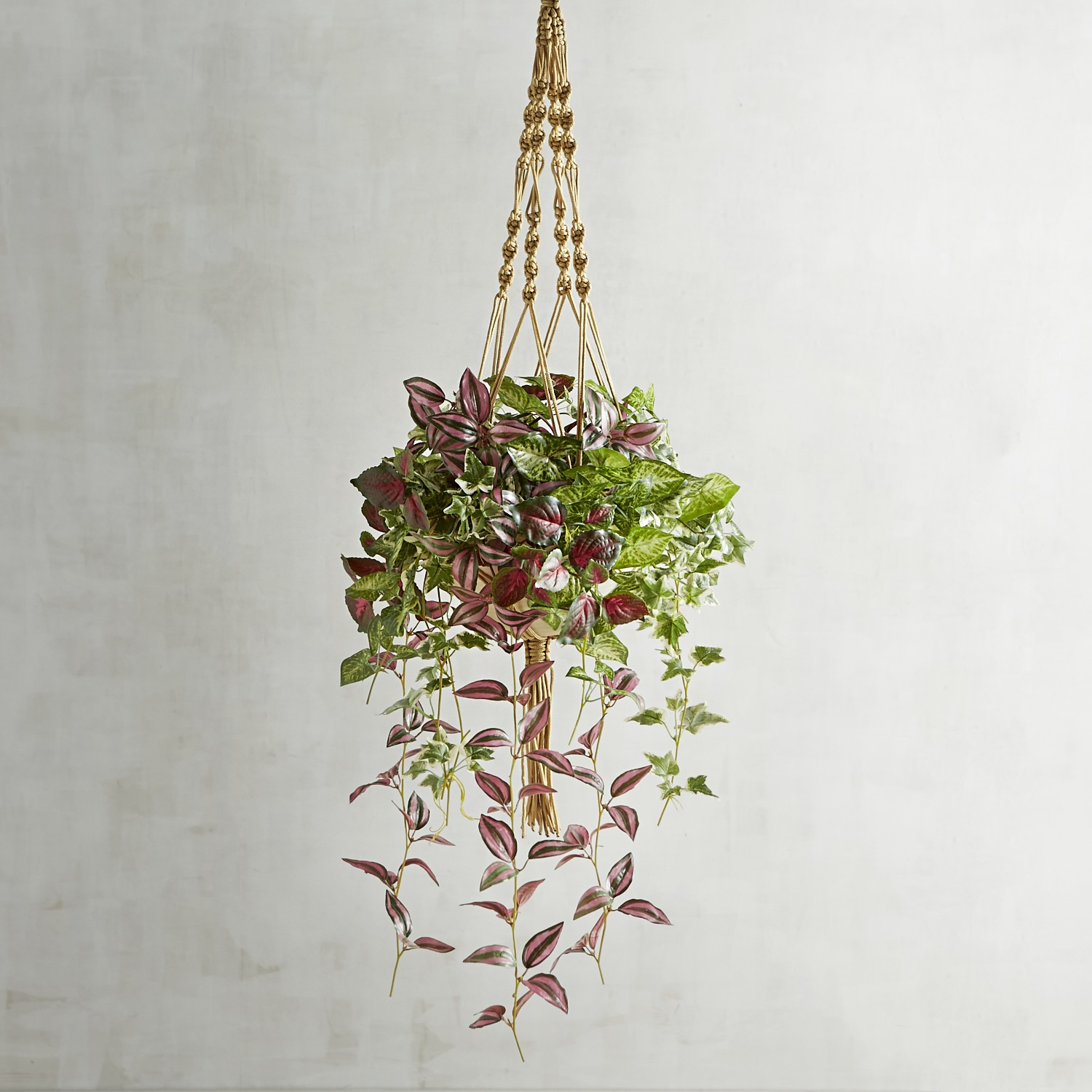 Outdoor Faux Mixed Leaves Hanging Basket