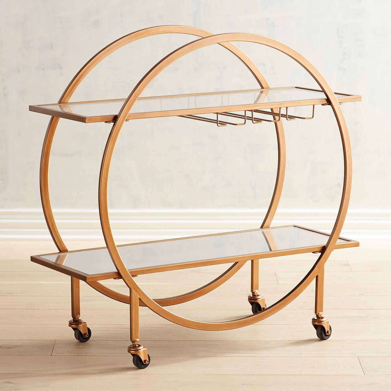 Round Art Deco Antiqued Gold Bar Cart