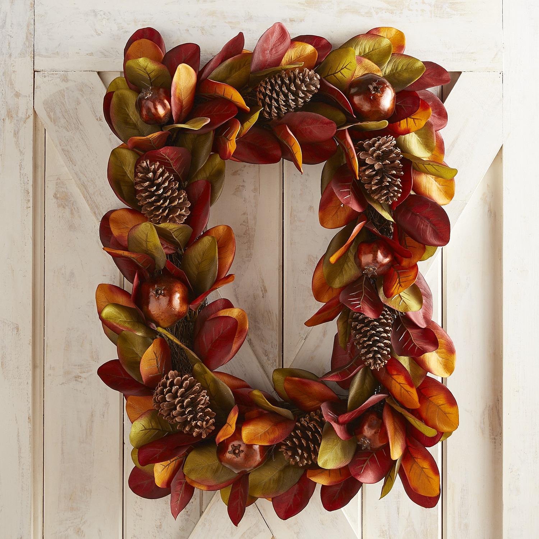Faux Magnolia & Pomegranate Rectangular Wreath