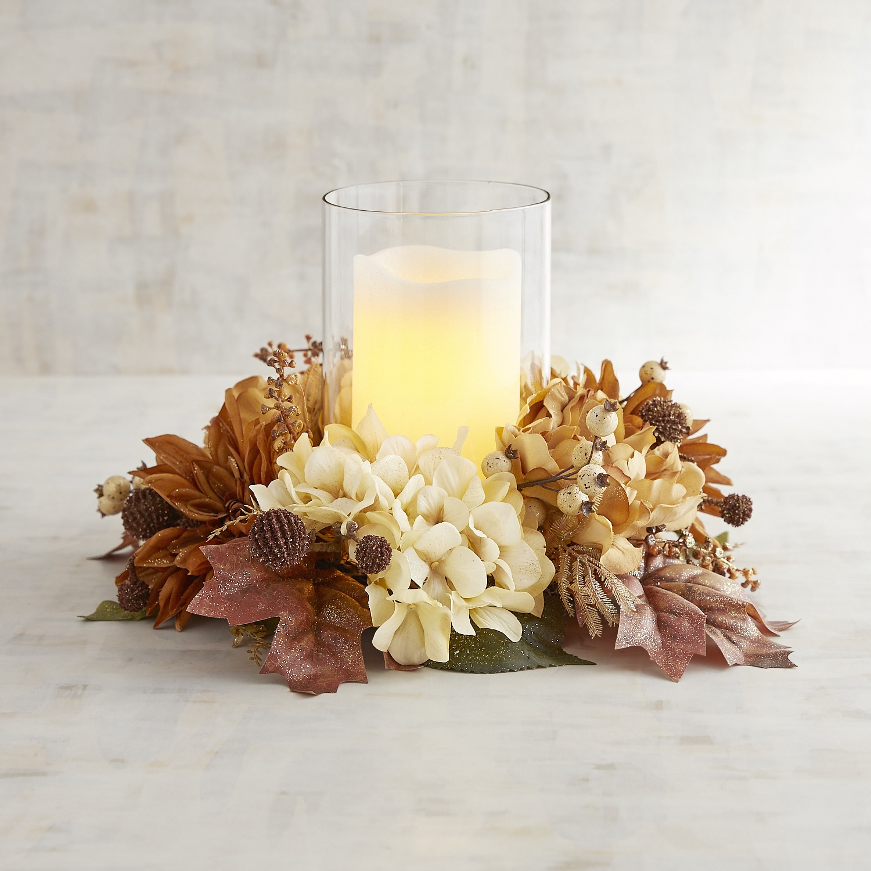 Glittered Faux Hydrangea Hurricane Candle Holder