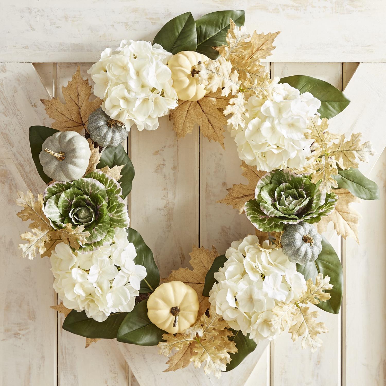 "Faux Cabbage & Hydrangea Oversized 26"" Wreath"
