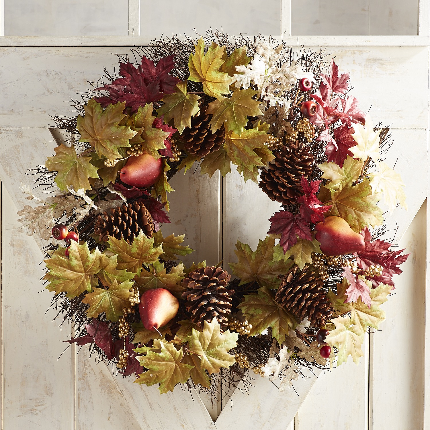 """Faux Pear & Mixed Leaves LED Pre-Lit 24"""" Wreath"""