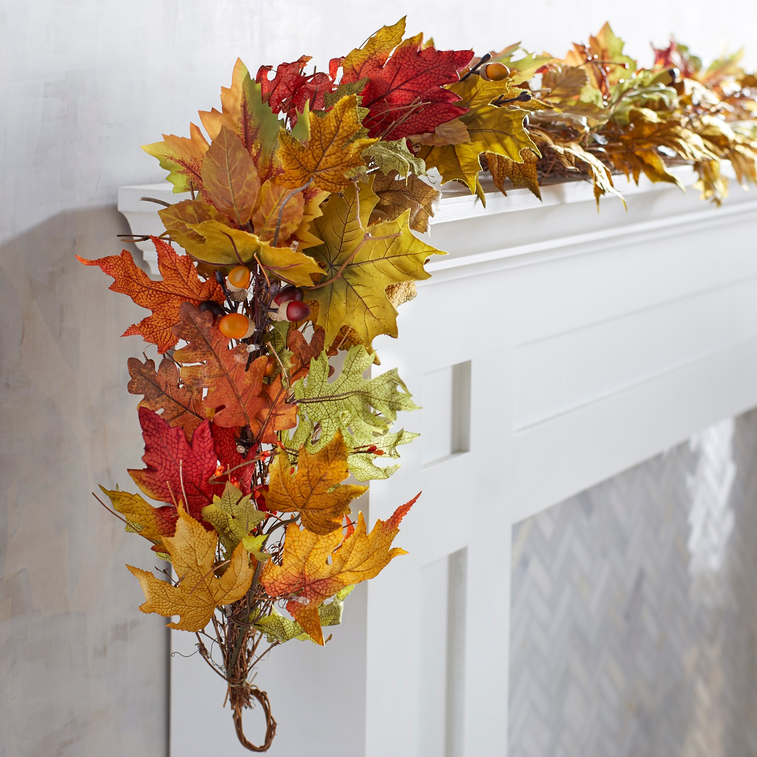 Faux Fall Leaves LED Pre-Lit 6' Garland