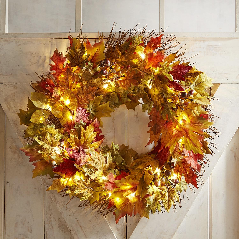 "Faux Fall Leaves Oversized LED Pre-Lit 26"" Wreath"