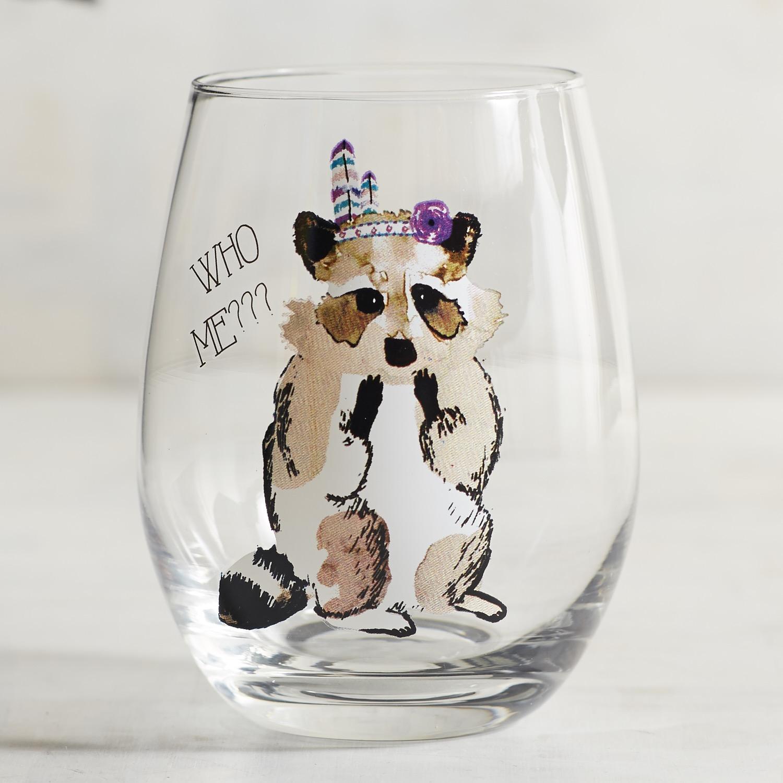Who Me Raccoon Stemless Wine Glass