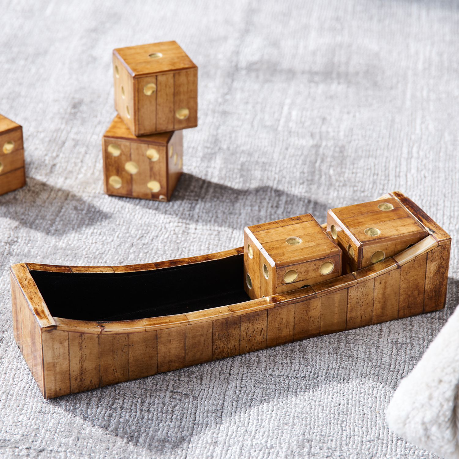 Tray with Wood & Bone Dice Set of 6