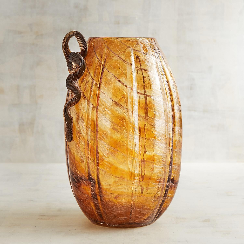 Pumpkin Art Glass Vase