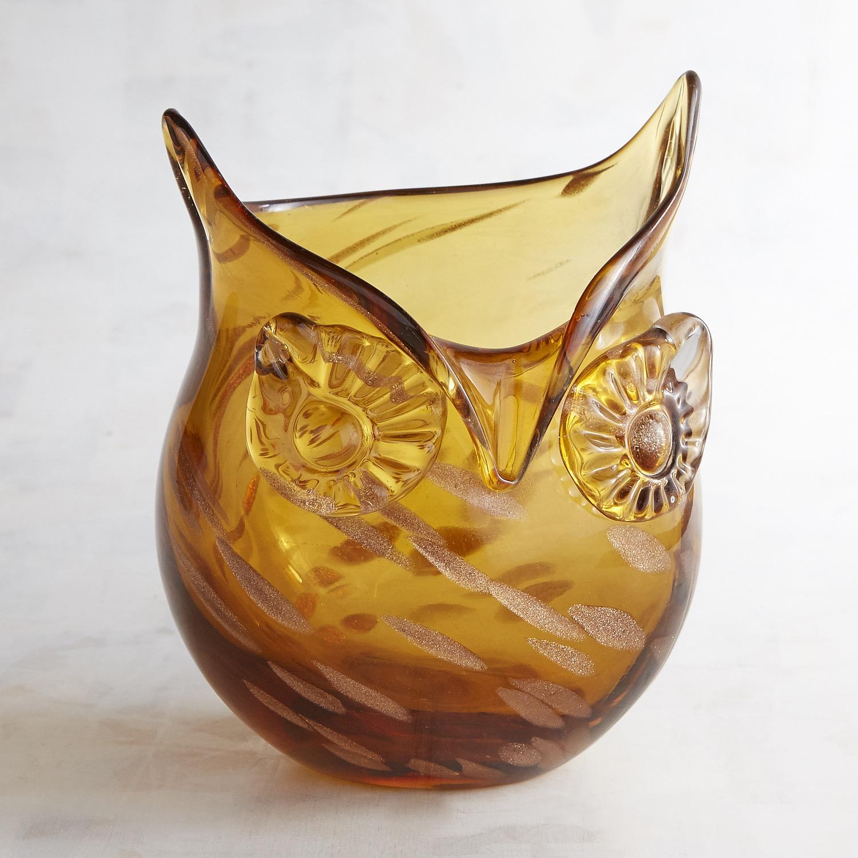 Art Glass Mini Owl Vase