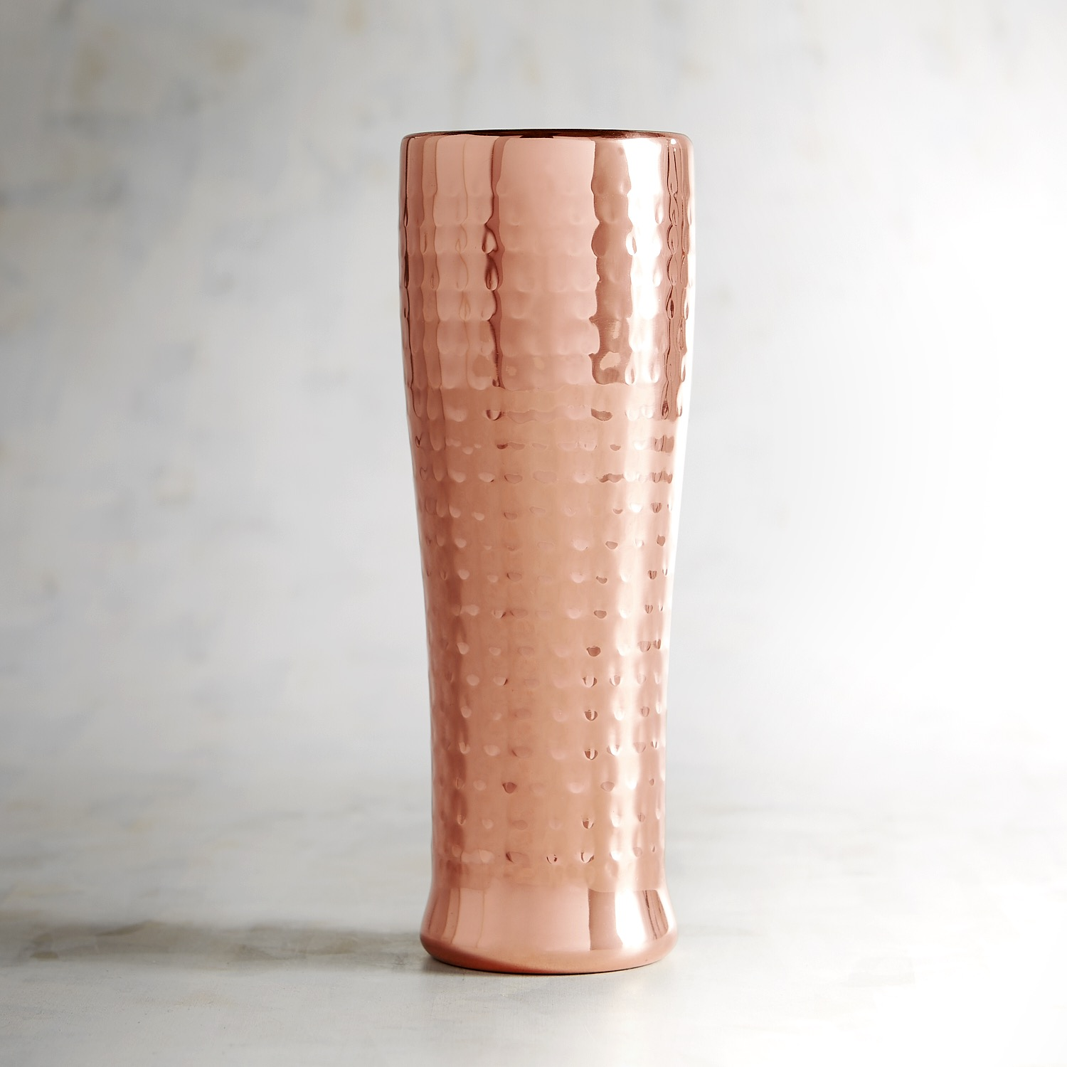 Hammered Double-Walled Copper-Plated Beer Glass