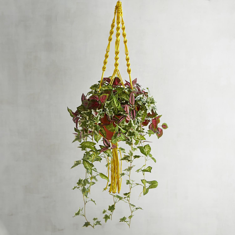 Outdoor Faux Greenery Yellow Hanging Basket