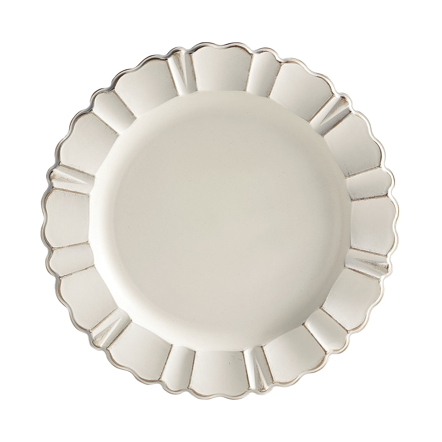 Antiqued Ivory Melamine Scalloped Charger Plate