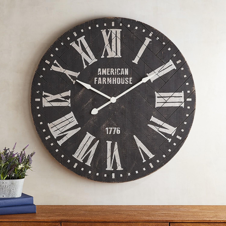 Black Shiplap Farmhouse Wall Clock