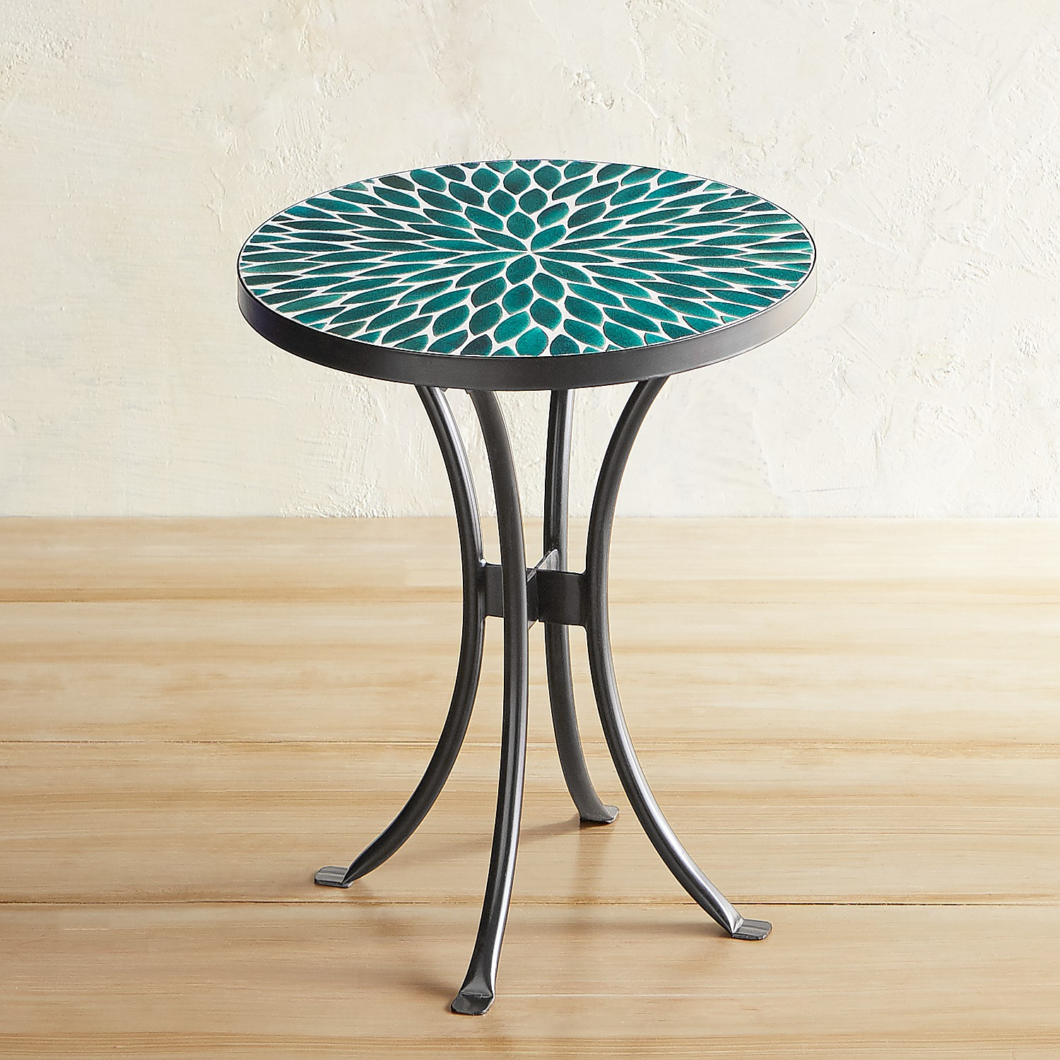 Jules Green Pebbles Mosaic Accent Table