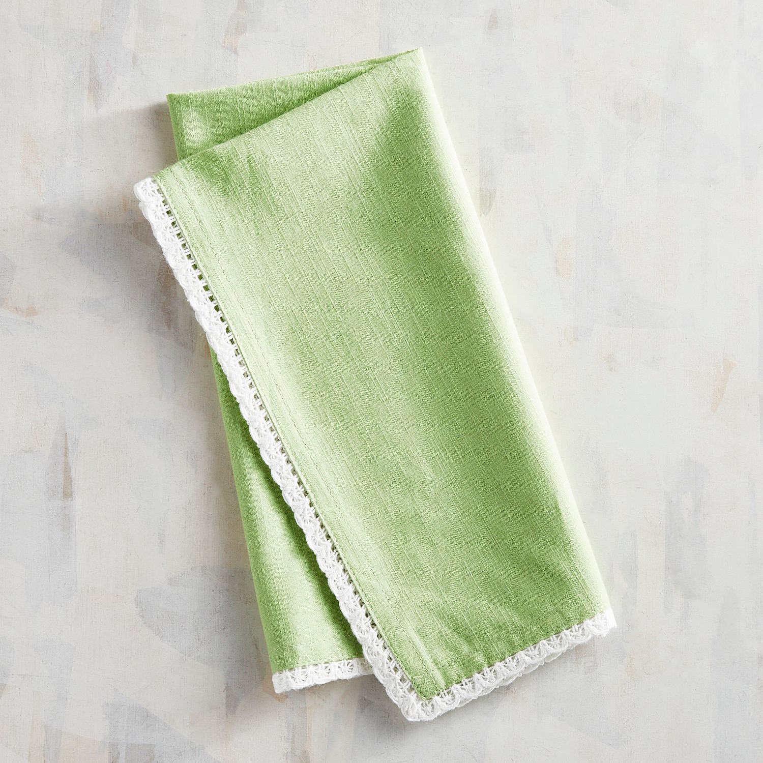 Green Napkin with Lace Trim