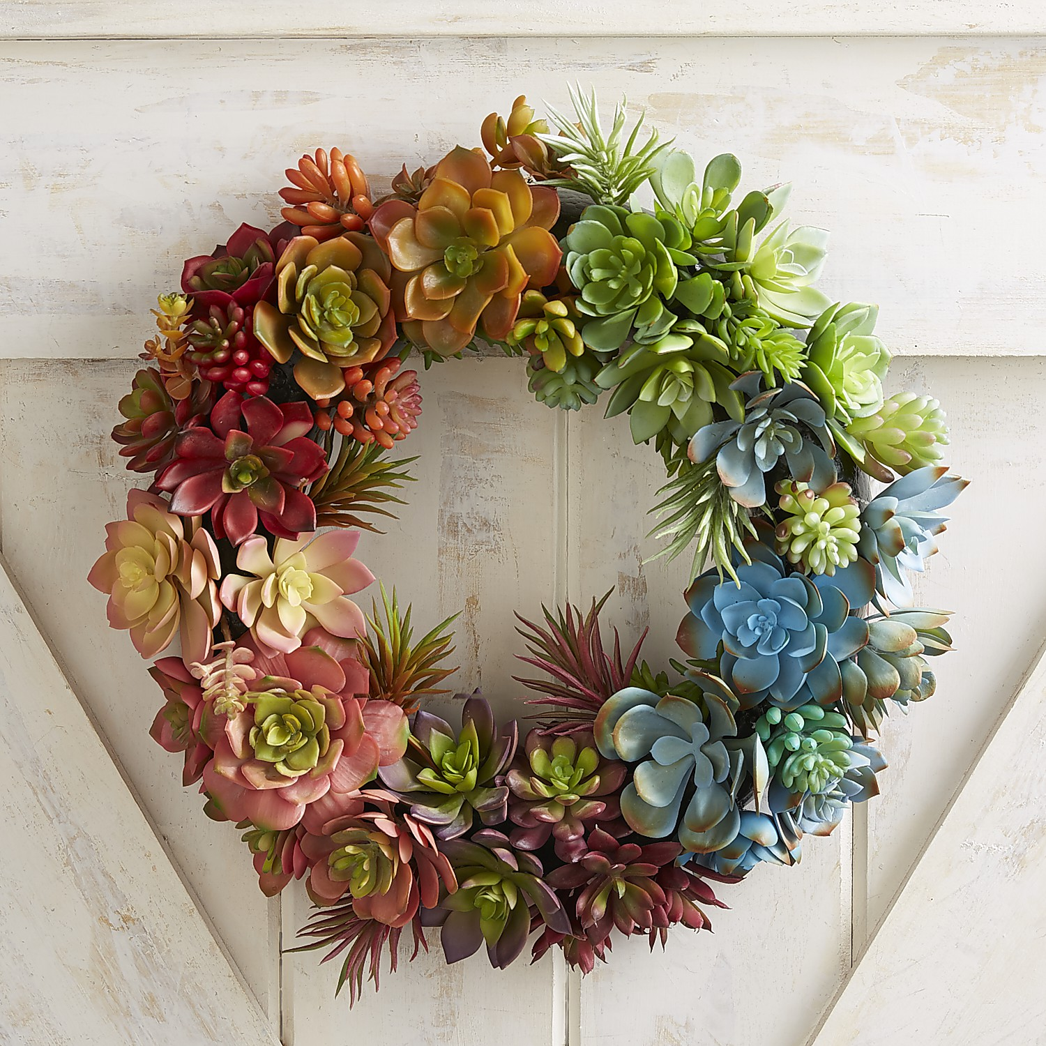 "Faux Rainbow Succulent 15.5"" Wreath"