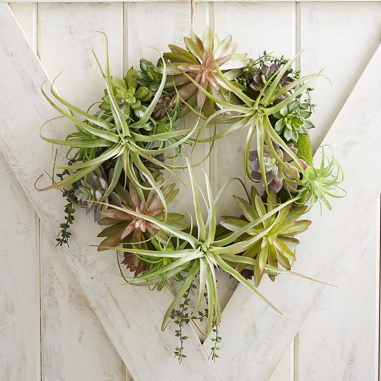 "Faux Succulent & Tillandsia 16"" Wreath"