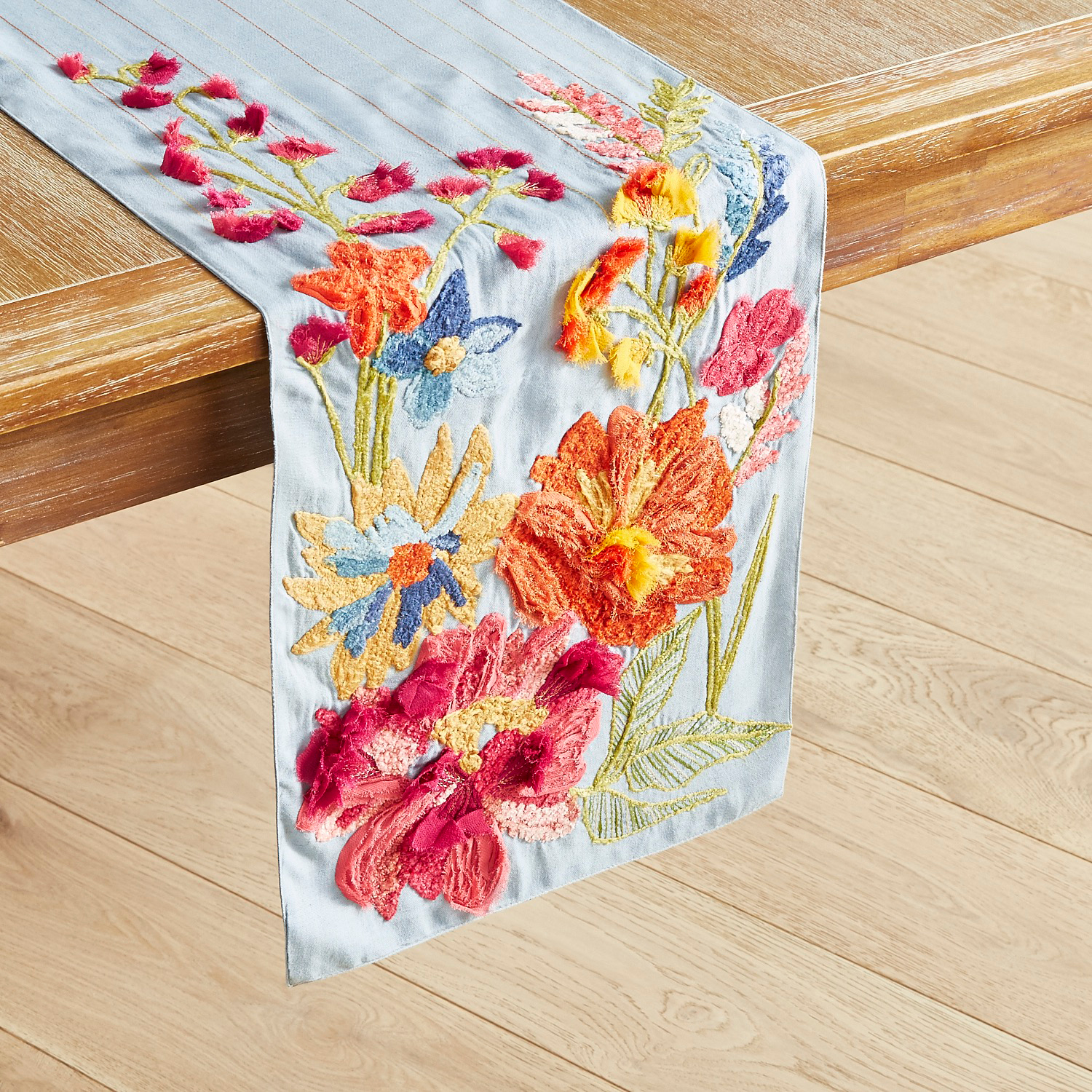 Vibrant Garden Textured Table Runner