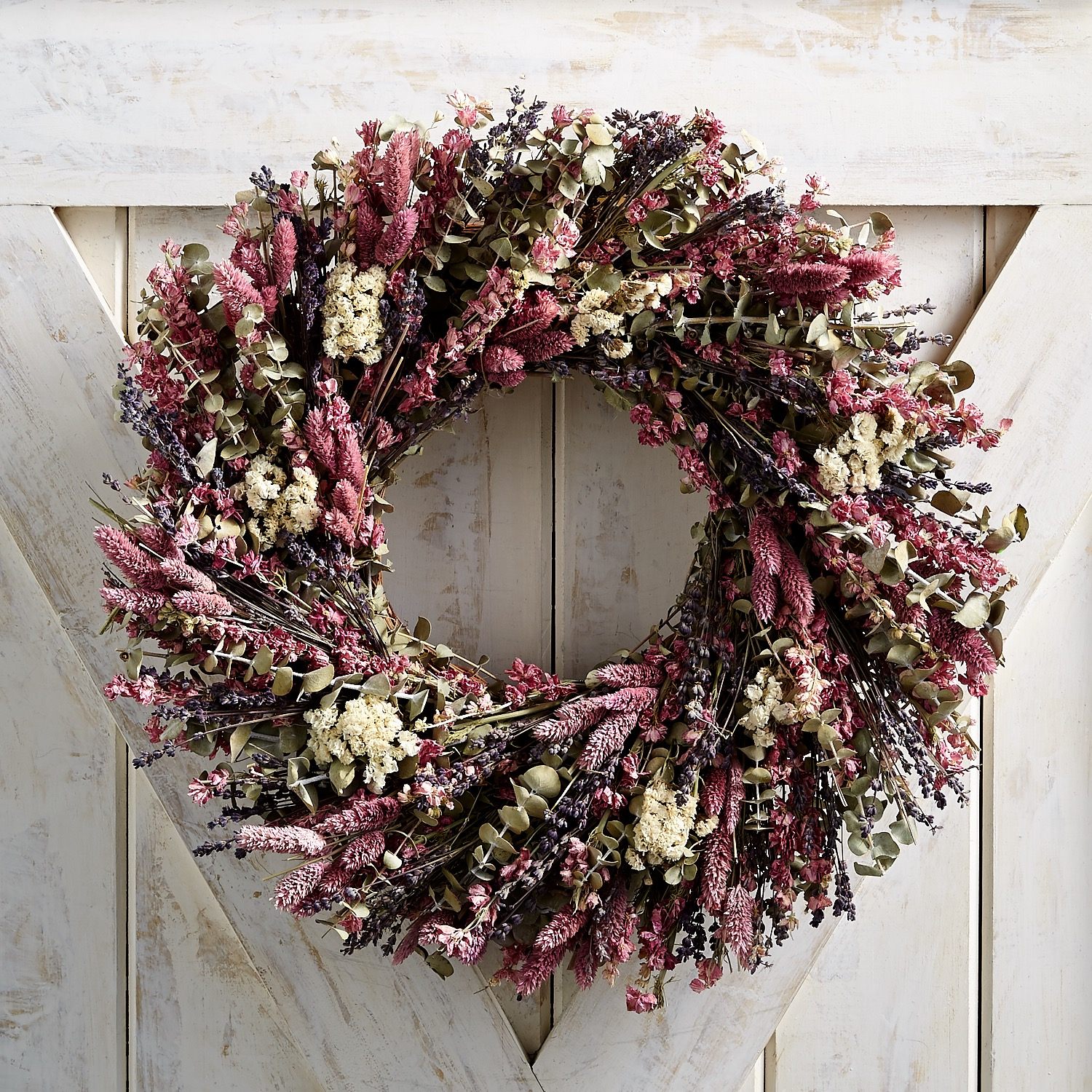 """22"""" Preserved Pink Spring Mix Wreath"""