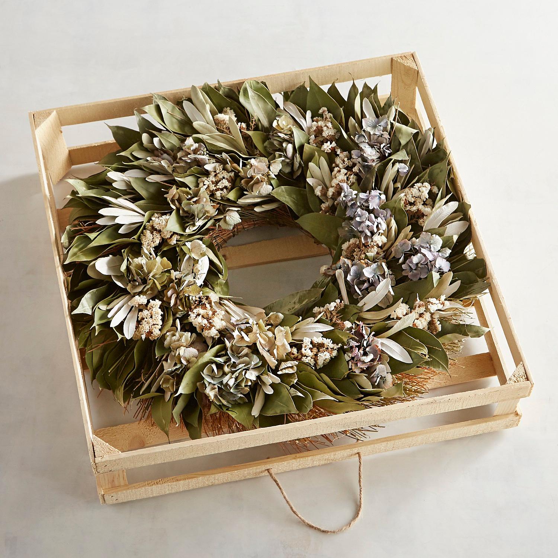 "22"" Preserved Blue Hydrangea Wreath"