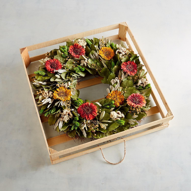 "22"" Preserved Orange Cream Zinnia Wreath"