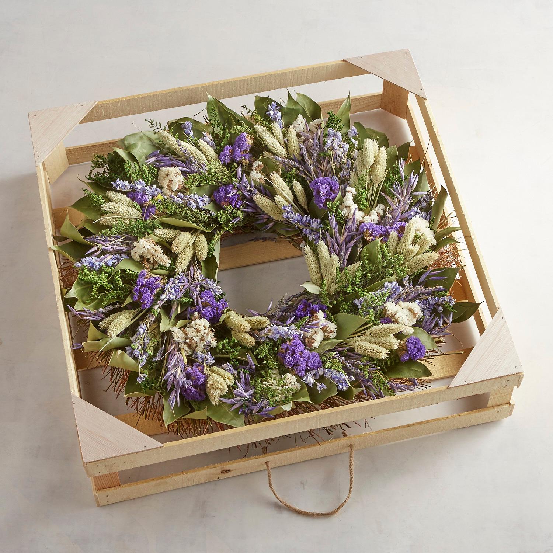 "Preserved Blue Azure 22"" Wreath"