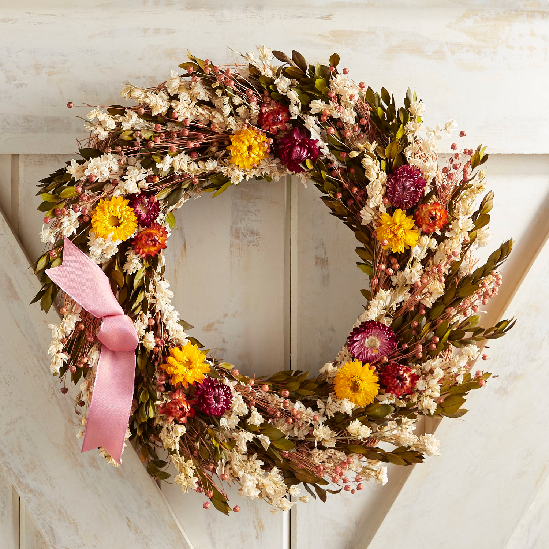 "Preserved Zinnia & Myrtle 18"" Wreath"