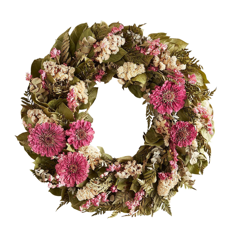 "18"" Preserved Pink Zinnia Mini Wreath"