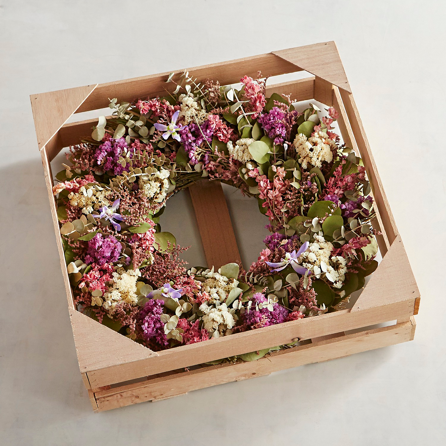 "Preserved Pink Orchid 18"" Wreath"